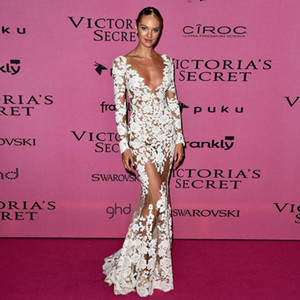 2019 New Sexy See Through Lace Mermaid Evening Dresses Deep V Neck Long Sleeves White Celebrity Prom Dresses vestidos de festa