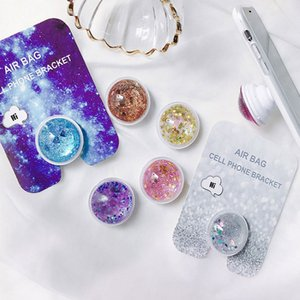 For iPhone X 8 8Plus Liquid Glitter Universal Quicksand Phone Stand Holder Hanger Ring for Samsung Note8 S8 with Retail Box
