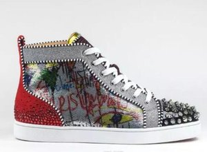 Christian\u52aa Louboutin CL 2018 New Season Red Bottom Sneakers Men Shoes Luxury Print Silver Pik Pik No Limit RARE studs and rMNHJ15