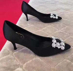 Nouveau luxe designer partie mariage chaussures de mariée mode sexy stiletto pointu sandales à talons hauts bouche peu profonde rhinestone chaussures habillées