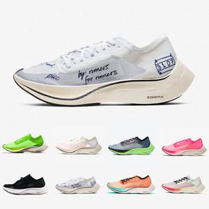 nike air zoom vaporfly next% zoomx clair vibrant vert hommes chaussures de course ekiden valériane ruban bleu voile rose hommes femmes formateurs baskets de sport