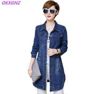 OKXGNZ Plus Size Donna Denim Jacket 2017 Primavera Solid Color Donna Cappotto Basic Cardigan Allentato Casual Top Denim Giacca a vento A415