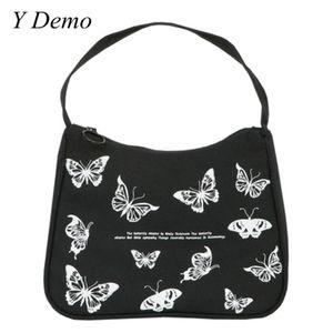 Y Demo Grunge papillon vintage impression Sac femmes Rétro lettres Casual grunge Toile sac à main d'été 2020 Manteaux