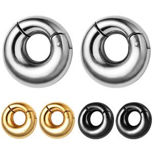 316L Acero inoxidable tapones de oreja Túneles 8 mm Pesos de oreja lisa Piercing Cuerpo Joyería Ear Galgas Gold Black Silver