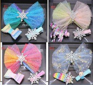 3-Pack Принцесса обхватывает зажим для волос Шпильки аксессуары Подарочная коробка для девочек блесток лук Блеск для волос клип Unicorn Design заколками Todder Kid подарок