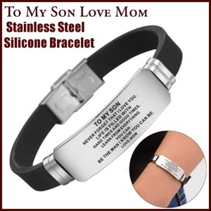 To My Son Love Mom Dad Bracelet Stainless Steel Silicone Bangle Chain Birthday Gifts Fashion Jewelry Bracelets New
