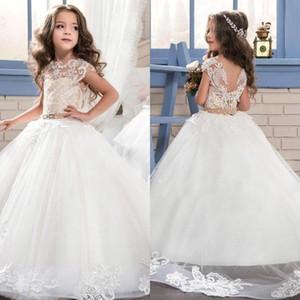 Lovely Princess Baby Girl Flower Girls Vestidos Sheer Neck Cap Mangas Backless Formal Girl's Pageant Vestidos