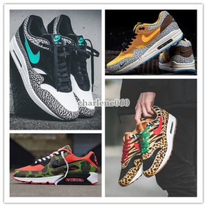 2020 NIKE AIR MAX 90 Atmos 1s 90s Shoes Trainers Atmos Animal Pack 3.0 Elephant Bred Print airmax 90 Reverse Duck Camo Sports Designer Sneakers
