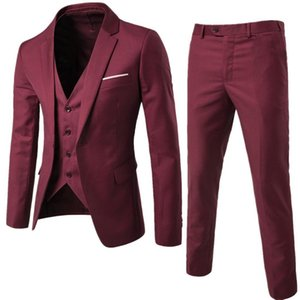 Man Suit Business Formal Leisure Dress Slim Fit Waistcoat Three-piece Groom Best