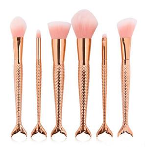 Make 6pcs lot Mermaid Makeup Professional 3d Brushes Sets Colorful Up Brushes Foundation Blush Cosmetic Brush Set Kit Tool 1set=6pcs 9 TUFM