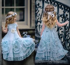 2020 Yular Boyun Bebek Mavi Çiçek Kız Elbise Çar Özel Durum için Ruffled Kat Uzunluk Dantel Parti Communion elbise için toddler