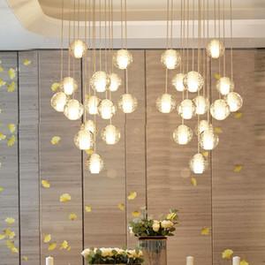 Longa escada lustre Sala de estar Salão escada lustre de iluminação de cristal da gota Hanging Lamp teto alto decoração de casa FFA3774