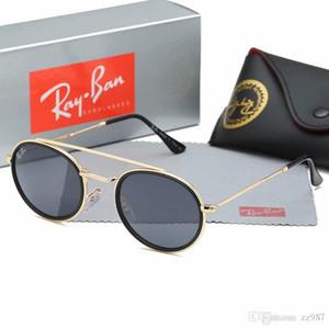 2019 Luxury Occhiali da sole di marca per la Mens dello specchio di vetro verde Lense Vintage Occhiali da sole Eyewear Accessori da donna Occhiali da sole