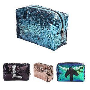 مصمم جديد الترتر حقيبة مستحضرات التجميل اللون عكسية الترتر قلم رصاص حقائب بنات التجميل حالة هدية