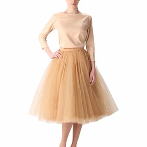 Vintage Gold Puffy Women Tulle Skirts Knee Length Female Tulle Skirt Plus Size Midi Tutu Adult Skirt High Quality Faldas