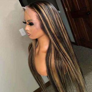 لون جديد 1B / 27 مزج اللون حريري مستقيم الشعر المستعار الإنسان الشعر العذراء البرازيلي 13x4 الرباط الجبهة الباروكات
