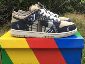Authentique Travis Scotts x SB Dunk Low Parachute Beige Chaussures de basket Hommes Femmes Petra Brun Noir CT5053-001 Skate Sneakers Taille 5-13