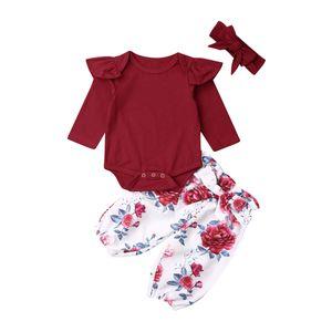 2019 Осень Зима 3шт детские с длинным рукавом девушки костюм ползунки цветочные брюки оголовье наряды комплект одежды новорожденных детей 0-24 месяца