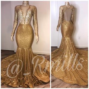 2020 Myriam Fares alto collo oro sexy Prom Dresses V dal collo profondo paillettes maniche lunghe sera Gowns