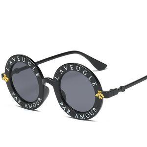 Дизайнерские Солнцезащитные Очки Для Женщин Мужская Мода Маленькая Пчелка Солнцезащитные Очки Очки Письмо Шаблон Старинные Ретро Круглые Солнцезащитные Очки