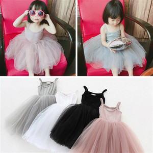 Fashion Baby Girls Lace Tulle Sling Dress Children Suspender Mesh Tutu Princess Dresses Summer Boutique Kids Clothing 80-120cm A26