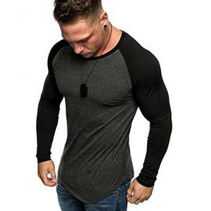 Goocheer nueva llegada para hombre gimnasia palangre de manga larga delgado del remiendo t shirts camiseta del músculo Casual Fit de manga larga Tops Nueva