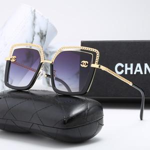 2020 Luxus-Sonnenbrille 1823 Frauen Kette Muster-Süßigkeit-Farben-Objektiv-Gläser Retro Außen Reise Lentes De Sol Mujer