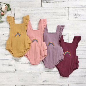 Toddle Dreieck-Spielanzug-Baby-Mädchen-Regenbogen-Stickerei Jumpsuits Kids Lace-up-Quadrat-Kragen Fly Sleeve Onesies Newborn Playsuits BYP709