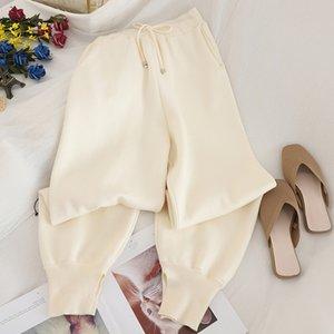Cepler ile Heliar ısıtın Kadın Haremler Elastik Pamuklu pantolon Kış Pantolon İçin Kadınlar Kalın Kuzu derisi Kaşmir Pantolon Pantolon
