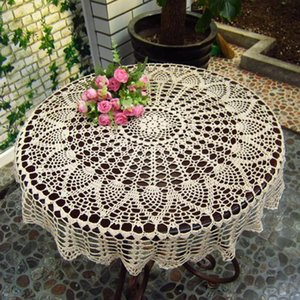 New 1Pcs Rodada Cotton Mão Crochet oco Out Toalha de Mesa casamento jantar Mesa de pano Tampa