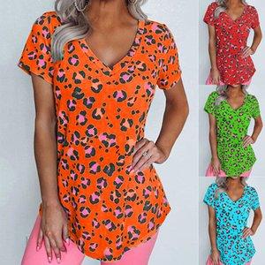 Leopard Womens floreale magliette di estate V Neck sciolti Donna sportiva Designer T Shirt manica corta lunga Tees