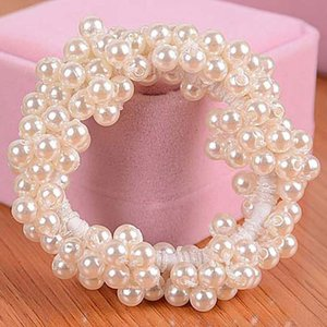 Pearl Headband Hair Accessories For Women Beads Headbands Ponytail Holder Girls Scrunchies Rubber Rope Headdress Vintage Elastic Hair Jewely