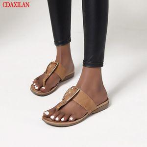 CDAXILAN novo para chinelos mulheres PU conjunto de couro toe ligam chinelos planas sapatos ao ar livre verão para senhoras