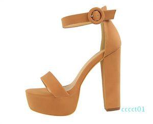 Designer Summer model women high heel Sandals 13 cm open toes chunky heel platform Sandals Buckle Strap lady Automobile model Shoes ct1