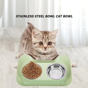 New Arrivals Pet Dog Double Bowl Teddy Food Bowl Stainless Steel Cat Dog Water Bowl Drinking Supplies Dropshipping 31*21.5*5cm