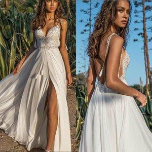Sexy Asaf Dadush 2019 vestido de boda en la playa de encaje correas espaguetis lado dividida gasa vestidos de novia verano Boho con espalda sin respaldo