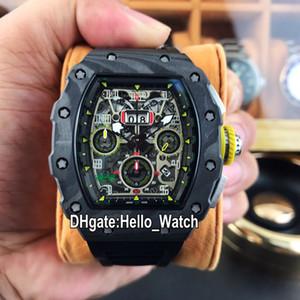 최고의 에디션 NTPT 탄소 섬유 케이스 Felipe RM011-FM Flyback Chrono ETA7750 자동 망 시계 날짜 RM011 고무 스포츠 시계 Hello_Watch