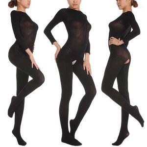 Горячие продажи 150D 5 цветов мужская женская бархатная Открытая промежность Bodyhose унисекс фетиш Bodystocking фиолетовый плоть белый красный черный 1