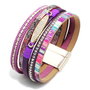 Fashion Lady Multi PU Leather Crystals Bracelet with Magnetic Clasp by Alloy Women Bohemian Leather Wristband OL Handmade Woven Bangle