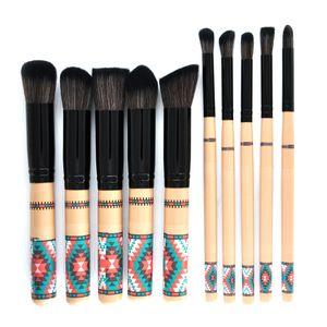 10 PCS Pinceaux De Maquillage Ensemble Base Style Bohémien Mélange Poudre Poudre Fard À Paupières Contour Concealer Blushs Outil De Maquillage Cosmétique GGA1864