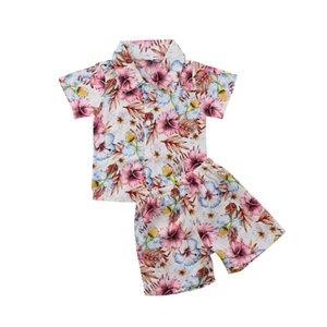 Beach Boys Çiçekler 2pcs Yürüyor Bebek Çocuk Bebek Boys tişört Tops + Pantolon Yaz Pamuk Kıyafetler Giyim Seti