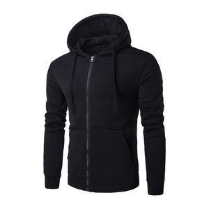 Plus Size Hommes Sweats à capuche Veste d'hiver Printemps Zipper Sweat à capuche avec cordon de serrage Top manches longues Homme Manteau de poche Sweat à capuche