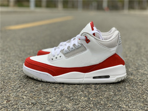 New Popular 3s Tinker Red Suede Man Designer Basketball Shoes Comfortable 3 White University Red Neutral Grey Fashion Footwear Come With Box