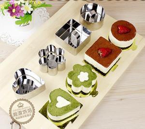 Molde pequeño Mousse Cake inoxidable de la forma del cuadrado del acero redondo para hornear Moldes corazón torta de mousse de moldes Mousse anillo de cocina Herramientas LXL1147