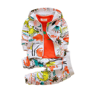2019 осенние наряды для девочек одежда наборы милый младенческий хлопок костюмы с капюшоном молния куртка футболка брюки 3 шт. мальчики Детская одежда