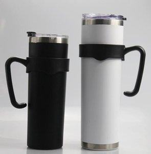 20 oz 30 oz Magro Tumbler manici porta di plastica portatile dell'acciaio inossidabile, detentore della Coppa dritto Balck maniglia per le tazze GGA3484-1