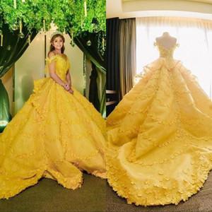 Balo Sarı 3D Çiçek Aplikler Quinceanera Modelleri 2020 Omuz Dantel Suudi Arapça vestidos de Sweet 16 Kız Balo Parti törenlerinde Kapalı