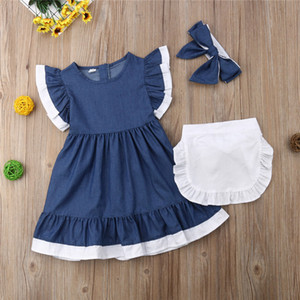 Girls Toddler Baby clothes Princess Party Pageant round neck zipper sleeveless Dresses solid apron Bow Headband 3pc Kids outfit