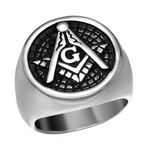 High polished Fine Workmanship Retro Silver Gold Stainless Steel Men's Freemason Masonic signet ring Mason Lodge jewelry items