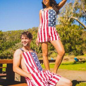 Комбинезон мужской женский пара День Независимости унисекс джинсы нагрудник общий комбинезон уличная одежда подтяжки шорты брюки для взрослых XS-5XL